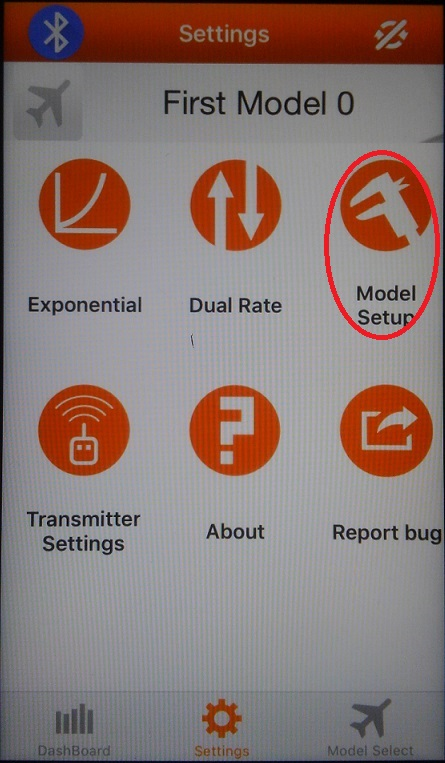 SpektrumアプリのModel setup