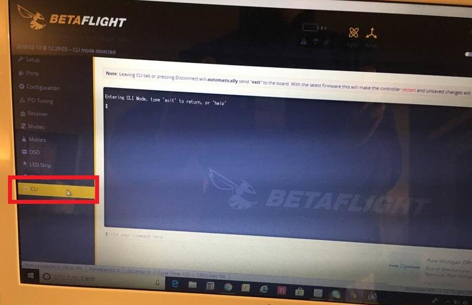 BetaflightのCLI設定のタブ