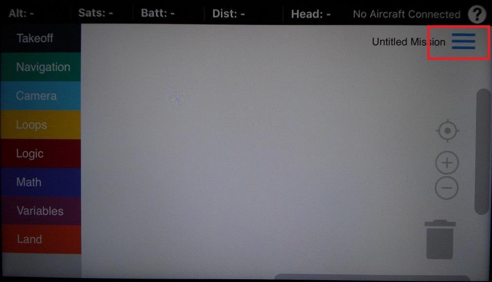 Drone Blocks画面の右上の三本線の画像