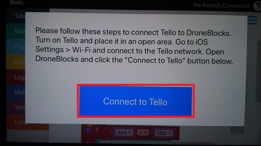 Drone Blocks画面のConnect to telloをクリック