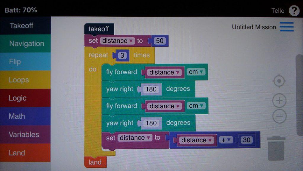 Drone Blocks変数を使ったプログラミング事例