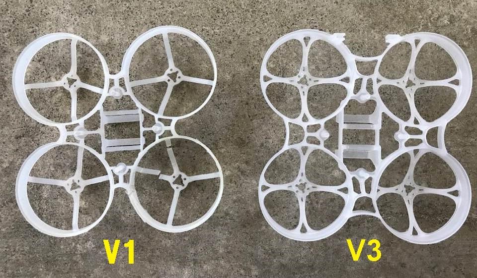 Mobula7 V1フレームとV3フレーム比較(表面)