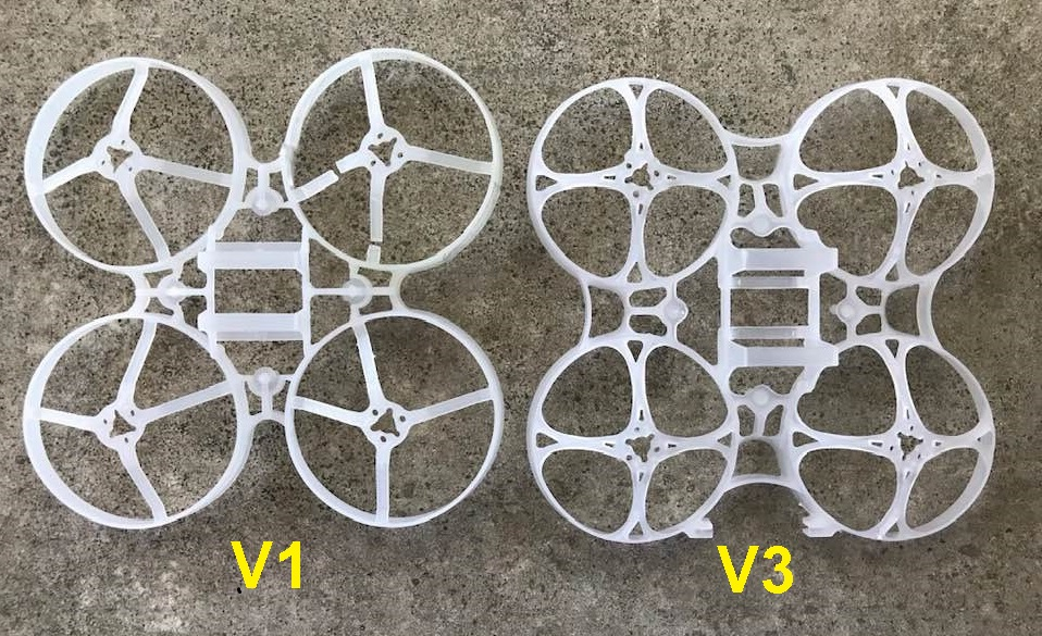 Mobula7 V1フレームとV3フレーム比較(裏面)